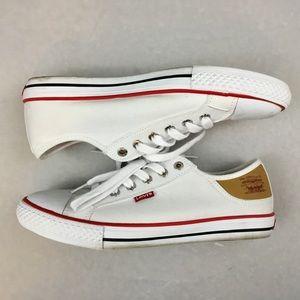 Levi's White Canvas Cap Toe Athletic Shoes Sneaker